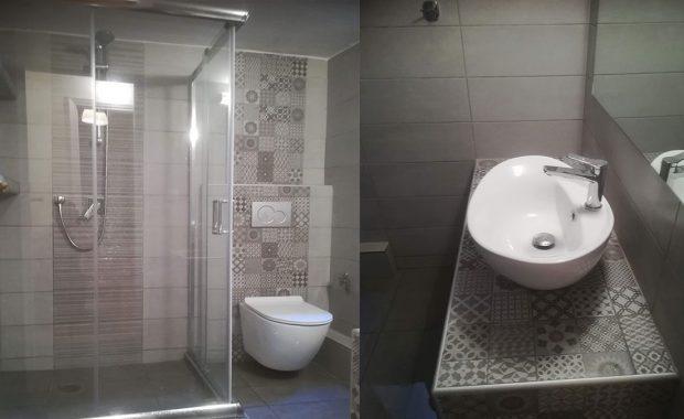Σχέδιο σε ανακαίνιση μπάνιου με ρετρό πλακάκι